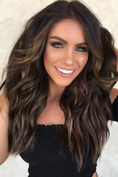 Dark Brown With Caramel Highlights Wavy brownhair ❤ Dark brown hair color looks very mysterious, and it's quite trendy these days. You can play with various shades of this color to create a different look. Brown Hair Balayage, Brown Blonde Hair, Dark Brown Hair With Highlights And Lowlights, Dark Highlighted Hair, Brunette Hair Colors, Dark Brunette Balayage Hair, Dark Brown Hair With Blonde Highlights, Shades Of Brunette, Dark Balayage