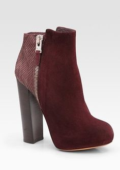 Brian Atwood Paramour Suede and Snake-Print Leather Ankle Boots