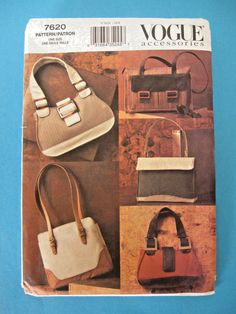 VOGUE craft/sewing pattern #7620 HANDBAGS 4 Variations UNCUT Tote/Shopper++ #VoguePatterns