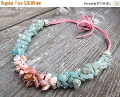 ON SALE Opal necklaces Cluster necklace Choker necklace Amazonite necklace Fine jewelry Cool necklace Fashion necklace Unique jewelry Travel