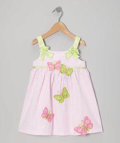 Dress Up Dreams Boutique Light Pink Butterfly Seersucker Dress - Toddler | zulily