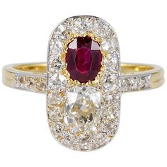 Edwardian Burma No Heat Ruby 2.10 Carat Diamond Ring | From a unique collection of vintage more rings at https://www.1stdibs.com/jewelry/rings/more-rings/