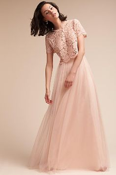 This feminine top brings a soft elegance to your look with short sleeves, jewel neckline, and scalloped floral lace. We love it paired with the Hampton Skirt or Louise Tulle Skirt. Pictured with Louise Tulle Skirt Two Piece Bridesmaid Dresses, Prom Dresses, Wedding Dresses, Tulle, Cheap Gowns, Maid Of Honor, Marie, Ideias Fashion, Party Dress