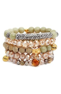 Erimish Set of 5 Beaded Crystal Bracelets available at #Nordstrom