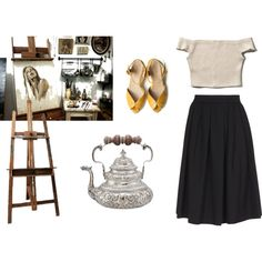 Matin peinture by morganebouchard on Polyvore featuring moda, Abercrombie & Fitch, Dsquared2, Grace and EASEL
