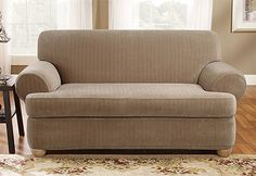 Sure Fit Slipcovers Stretch Pinstripe Separate T-Cushion - Loveseat T-cushion