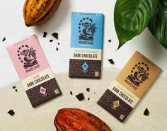 Ptarmak designed this earthy and tribal-influenced chocolate bar packaging for Madécasse.