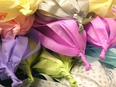 Tissue tassels ready for garland…  Bespoke paper decorations available now shop link via website    Paper decor by Paper Street Dolls Luxury handmade paper decorations
