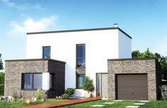 maison en pierre contemporaine toit plat                                                                                                                                                                                 Plus