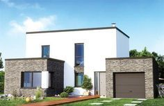 maison en pierre contemporaine toit plat                                                                                                                                                                                 Plus