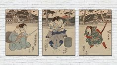 Japanese Samurai Triptych Print/Japan Vintage Poster/Antique Samurai Wall Art Set/Japanese Warrior Printing/Japan/Fuji/Sunrise/Asian Print Japanese Warrior, Vintage Clip, Japanese Prints, Wall Art Sets, Triptych, Poster On, Asian Style, All Print, Fuji