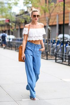 How Street Style Stars Are Wearing Denim at Fashion Week | StyleCaster