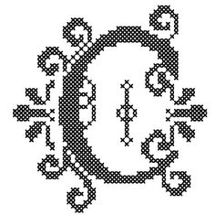 Counted Cross Stitch Pattern Formal Letters for Initials  Letter C - Instant Download Epattern PDF File