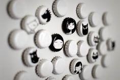 Bottle caps + spray paint + sharpie + magnets...art club