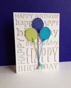 I'm in Haven—Birthday Background Stamp by Memory Box, plus balloons dies by Lil' Inkers (She did five different cards using the same background die.)