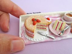Miniature Victoria Sponge Cake & Cupcake Scene Polymer Clay