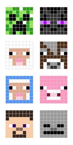 Minecraft Face, Minecraft Quilt, Minecraft Pattern, Hama Beads Minecraft, Diy Perler Beads, Minecraft Pixel Art, Minecraft Crafts, Minecraft Designs, Perler Bead Art