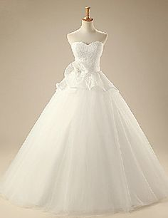 Elegant & Luxurious A-line Sweetheart Floor-length Wedding Dress (Lace/Organza)