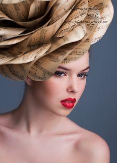 fancy hat,Rose of music paper,big rose hat,giant paper rose,vintage paper flower,Large Paper Flower,wedding decor,old paper,fashion hats