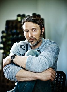 Mads Mikkelsen, Danish, male actor, celeb, beard, hands, arms, fingers, powerful face, intense eyes, portrait, photo