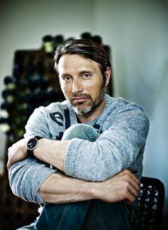 Mads Mikkelsen, Danish, male actor, celeb, beard, hands, arms, fingers, powerful face, intense eyes, portrait, photo