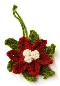 Crochet Poinsettia Ornament | AllFreeHolidayCrafts.com http://www.allfreeholidaycrafts.com/DIY-Christmas-Decorations/Crochet-Poinsettia-Ornament/ml/1/?utm_source=ppl-newsletter&utm_medium=email&utm_campaign=allfreeholidaycrafts20140927