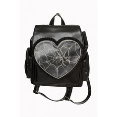 887b5ca37a Banned Rockwell Backpack Awesome faux leather backpack from Banned! The  gorgeous Rockwell bag features a heart shape flap, with a bone white spider  web ...