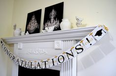 Congratulations banner, graduation banner,  congrats sign, we are so proud of you banner Black gold graduation decorations,