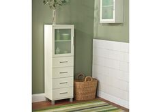 Spar Cove Furniture 4-Drawer Frosted Pane Linen Cabinet in Antique White