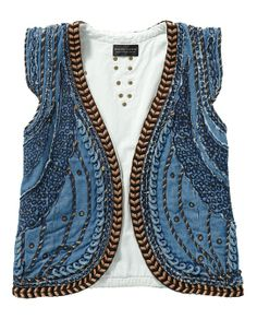 Maison Scotch Denim Gilet With Special Emb. Look Fashion, Girl Fashion, Fashion Design, Gilet Jeans, Denim Vests, Mode Jeans, Refashion, Pulls, Boho Chic