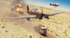 The End of the Beginning by Peter Forkasiewicz - Hurricanes of 238sq during attack on Italian convoy on the road from Siwa Oasis, 15th November 1942.