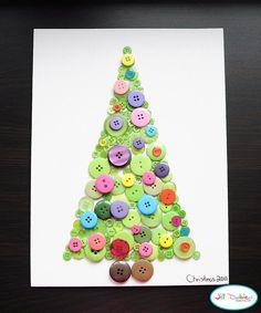 Weihnachtsbasteln mit Kindern - 15 DIY Bastelideen - basteln mit Knöpfen - Weihnachten basteln