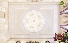 Majestic villa in UAE If you are looking for a unique style of your home offi New Ceiling Design, Simple False Ceiling Design, Ceiling Design Living Room, Bedroom False Ceiling Design, False Ceiling Living Room, Master Bedroom Design, Living Room Designs, Luxury Interior, Home Interior Design
