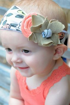 Love this! Casual fun, coral-print fabric infant girls headband