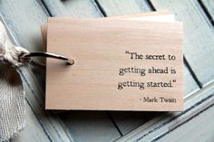 "Wood Notepad / Notebook (3"" x 2"") - Mark Twain - Secret to getting ahead... $16.00, via Etsy."