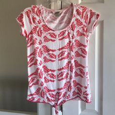 Lucky Brand Top Red and white Lucky Brand Tops Tees - Short Sleeve