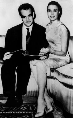 Grace Kelly in love and her  Prince Rainier of Monaco...note the lovely, shapely sheath & how she looked so effortlessly fabulous in it.