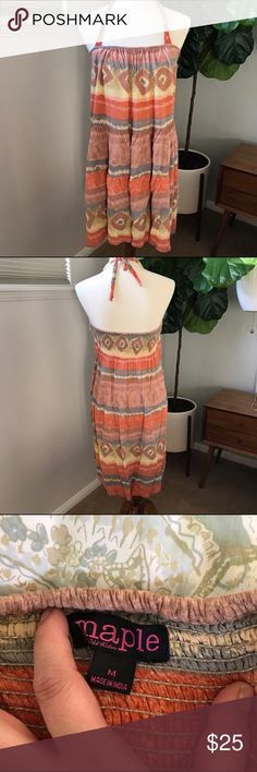 """Anthropologie maple halter top dress size M. Anthropologie maple halter top dress size M. Beautiful pastel color dress. Has built in bras and elastic back. Perfect for festival season, vacations for pool side or brunching. Pair with wedges or flip flops. Bust 15"""" length 26"""". Appx measurements.  Bundle and save. 🌸🎈😉👍 Anthropologie Dresses Mini"""