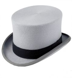A traditional gray wool felt Top Hat.
