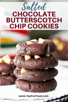 These delicious Salted Chocolate Butterscotch Chip Cookies are soft, cake-like, and melt-in-your-mouth. A 30 minute cookie recipe that makes 24 sweet treats. #yayforfood #cookies #cookierecipe #chocolate #desserts #chocolatecookies #easydesserts #easycookierecipes #sweettreats