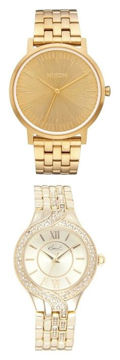 """""""watches"""" by briyannaelainhoy on Polyvore featuring jewelry, watches, accessories, bracelets, nixon jewelry, watch bracelet, metal watches, wide watches, metal watch bracelet and yellow"""