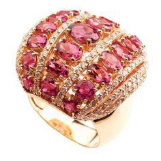 Think Pink--Tourmaline and diamond ring by Vancox