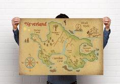 Neverland Map Print // Peter Pan Nursery Print // Captain Hook Print // As small…