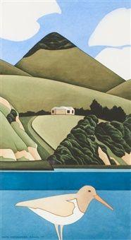 White Oystercatcher by Robin White Abstract Landscape, Landscape Paintings, New Zealand Landscape, New Zealand Art, Nz Art, Maori Art, Kiwiana, White Prints, Naive Art