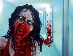 RW2 HUGE Limited Edition Giclee Zombie Art Night Life OOAK Horror Dark Bloody