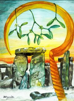 "Winter Solstice:  ""Solstice Blessings"" (""mistletoe"" watercolor ), by D. Shorrocks."