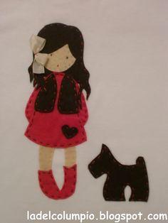 Applique girl and her dog Applique Patterns, Applique Quilts, Embroidery Applique, Felt Applique, Felt Diy, Felt Crafts, Diy Crafts, Fabric Dolls, Paper Dolls