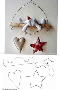 MiiMii - crafts for mom and daughter.: How to make Christmas ornaments for a few pennies - time to start work :) Christmas Projects, Felt Crafts, Holiday Crafts, Fabric Crafts, Sewing Crafts, Diy And Crafts, Christmas Makes, Felt Christmas, All Things Christmas
