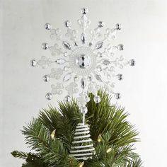 White & Silver Snowflake Tree Topper