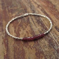 Garnet Bracelet with Karen Hill Tribe Silver by TwoFeathersNY, $42.00